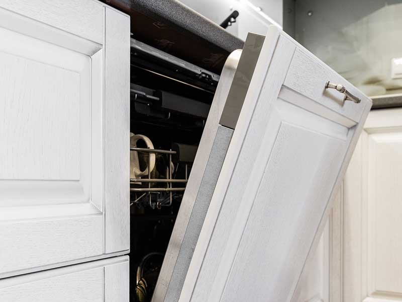 Built-in dishwasher with the door open
